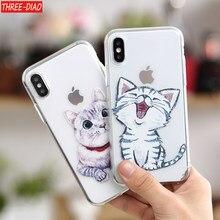 81dbc0e6df7 THREE-DIAO dibujos animados lindo gato suave caso de silicona para iphone X 6  6 s más teléfono cubierta para iphone 7 8 más 5S S..