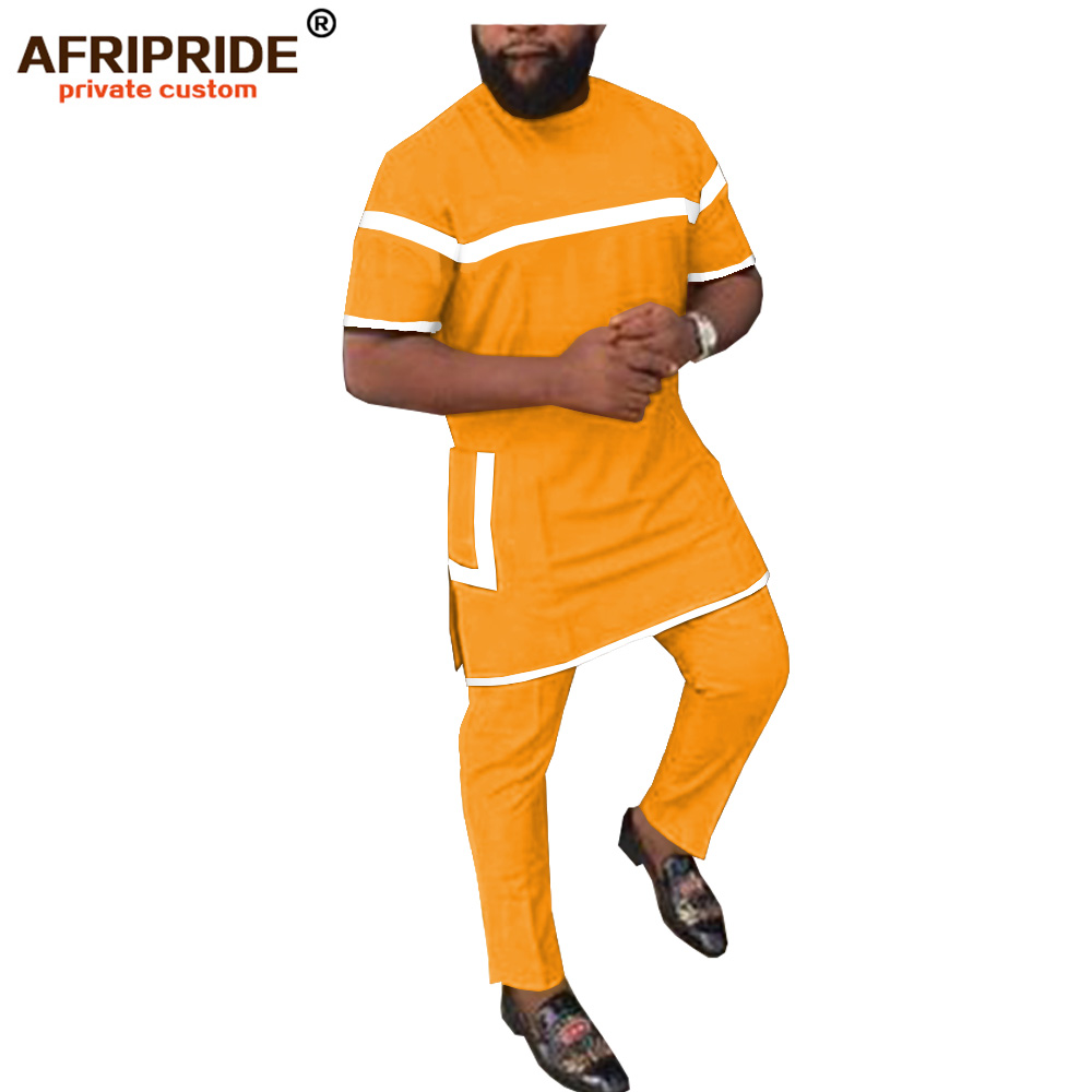 2019 African Clothing For Men 2 Piece Set Solid Dashiki Tops+ankara Pants Tracksuit Sweatsuit With Pockets AFRIPRIDE A1916002