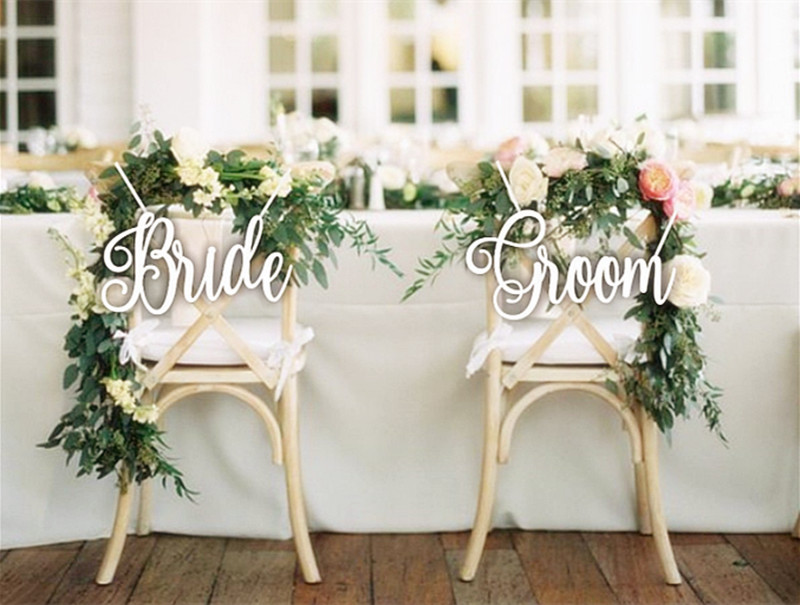 Жених и невеста знаки для свадьбы стулья украшения свадебные стул знак белый акрил белые буквы вечерние украшения