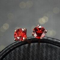 1.28ct Natural Garnet Orecchini Solido Argento 925 Gioielli Per Le Donne 18 K Oro Rosa Placcato Viti Prigioniere Dell'orecchino