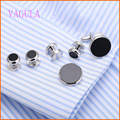 VAGULA Silver Onyx Cufflinks Collar Studs Set 6pcs set AAA Quality Gemelos Cuff Links Silver Cufflings 265