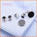 Vagula prata ônix abotoaduras pregos colarinho set 6 pcs set aaa qualidade gemelos abotoaduras cufflings prata 265