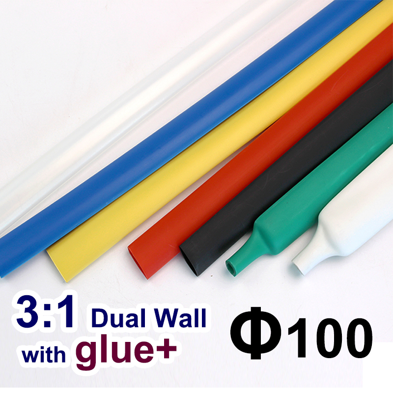 1.22 Meter/lot 100mm Black Dual Wall Heat Shrink Tubing With Glue Adhesive Lined Ratio 3:1 Heat Shrinkable Tube Cable Sleeves Matching In Colour