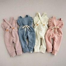 Одежда для новорожденных; комбинезон в полоску с оборками и открытой спиной; комбинезон; одежда для маленьких девочек; Комбинезон для маленьких девочек; детская одежда