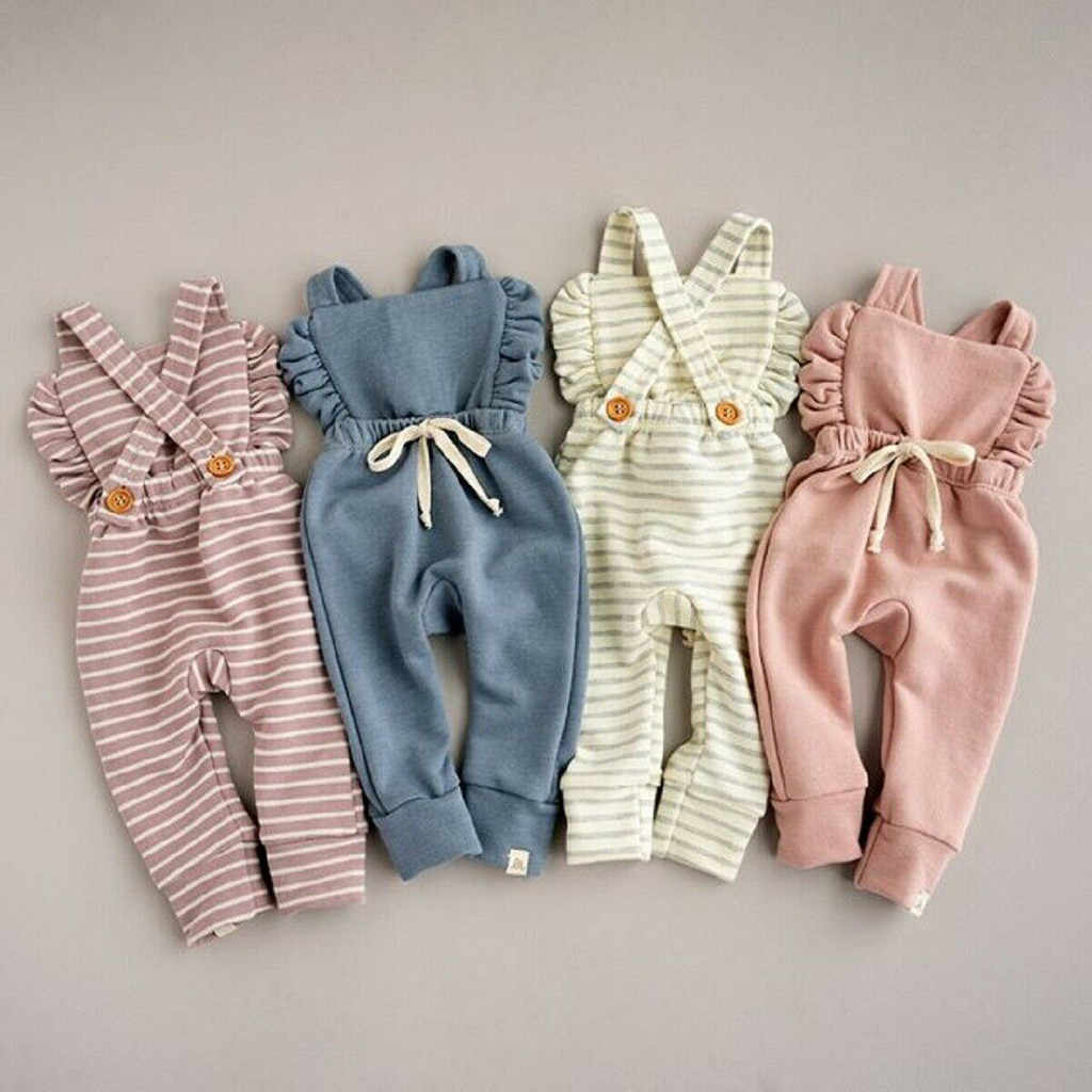 Newborn Baby Clothes Backless Striped Ruffle Romper Overalls Jumpsuit Clothes Baby Girl Clothes Baby Girl Romper kid clothes