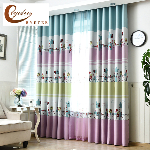 Us 8 54 39 Off Byetee Bedroom Window Kids Curtain Living Baby Room Kitchen Blackout Curtains For Children Fabrics D In