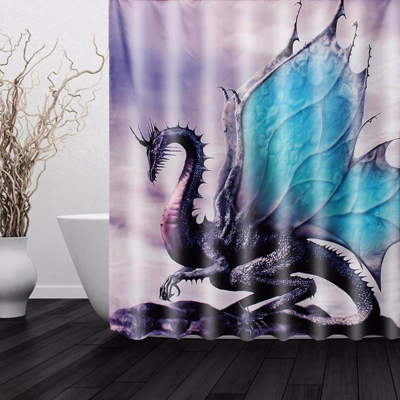 custom new dragon waterproof polyester fiber bathroom shower curtain bathroom decor boys
