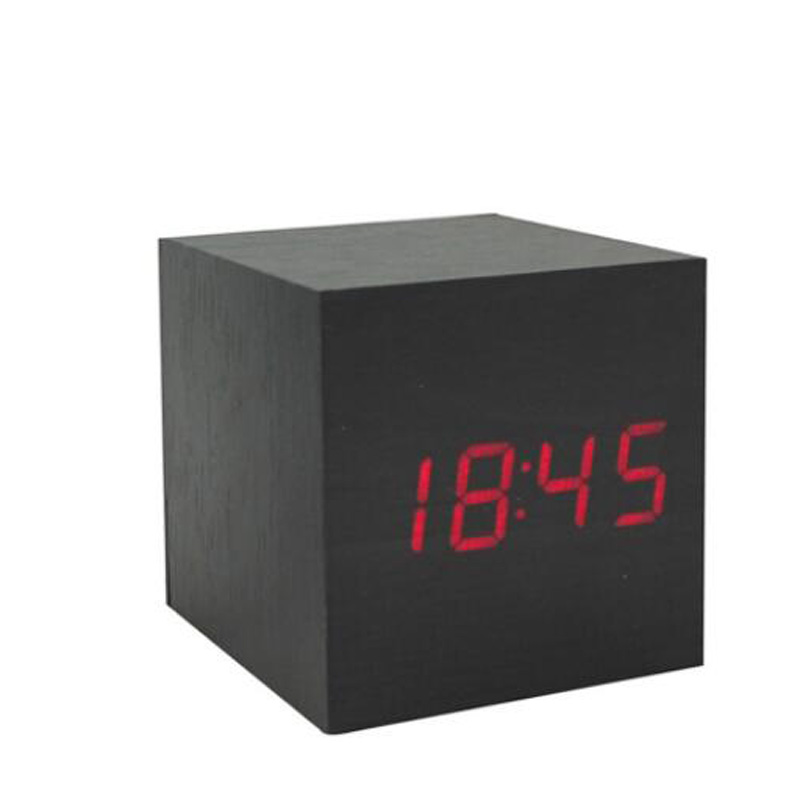 Learned Led Alarm Clock Desktop Table Digital Thermometer Wood Usb/aaa Date Display Multicolor Sound Control Wooden Wood Square Alarm Clocks