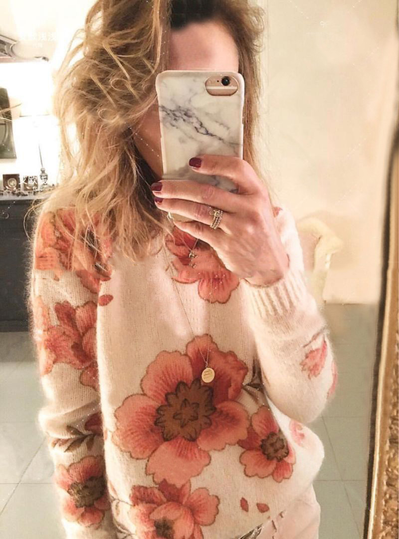 Mohair Blend Flower Intarsia Round Neck Knit Sweater 2018 New Women Ladies Long Sleeve Intarsia Print