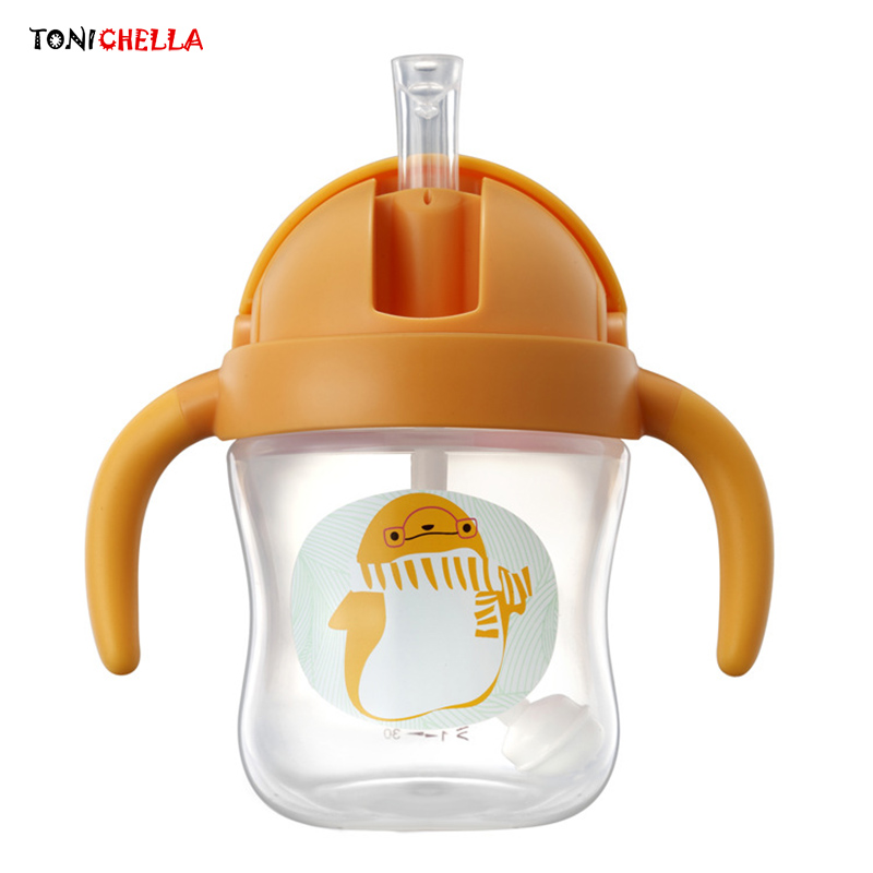 Toddler Learn To Drink Bottles Infant Drinking Cups Animal Cartoon Printed Mugs Baby Training Bottle Children Drinkware T0613