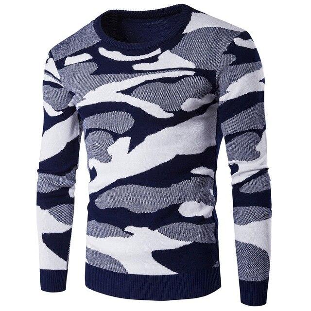 2016 Сгущает мужчины свитера Осень Зима согреться Военная Leopard печати трикотаж О-Образным Вырезом knited свитер MQ452