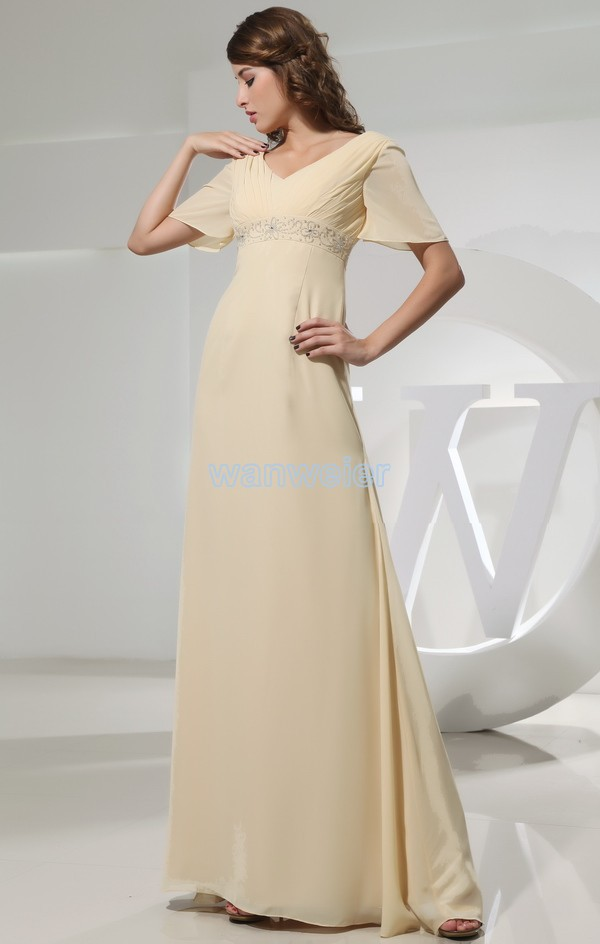 Free Shipping Brides Maid 2018 Unique Classy Bright Yellow Maxi Long Beaded Evening With Sleeves Mother Of The Bride Dresses