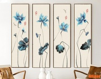 Chinese Ink Painting Abstract Blue Lotus 4 Pieces Set Print And Poster Unframed HD Printing On