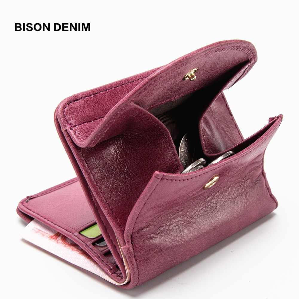 BISON DENIM Genuine Leather Women Purse Coin Wallet for Women 2019 Cowhide Female Card Holder Carteira Feminina Lady purse N3274