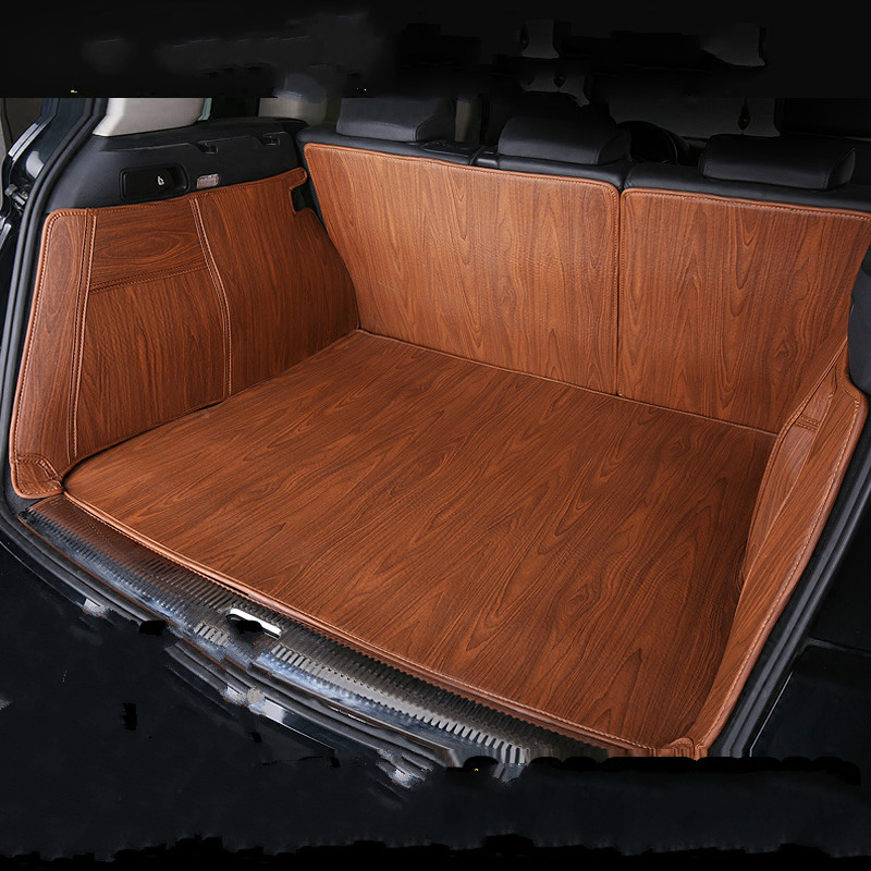 Wood Grain Full Surround Waterproof Boot Carpets Custom Special Car Trunk Mats for Land Rover Range Rover Freelander 2 Defender