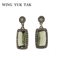 Vintage Green Crystal Earrings For Women New Fashion Geometric Statement Party Jewelry Accessories