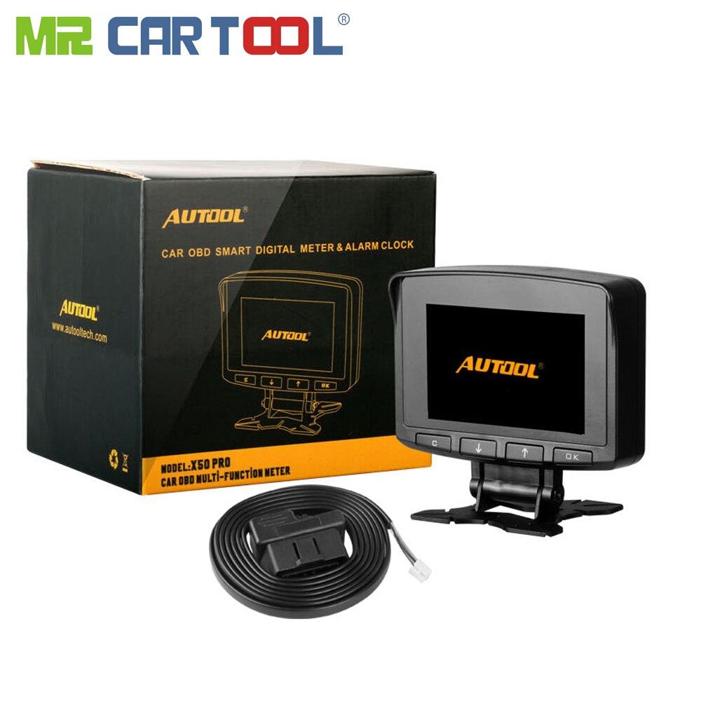 AUTOOL X50 Pro Car OBD2 II ODB 2 Fault Detection Display Speedmeter Voltmeter HighTemperature Alarm Diagnosis