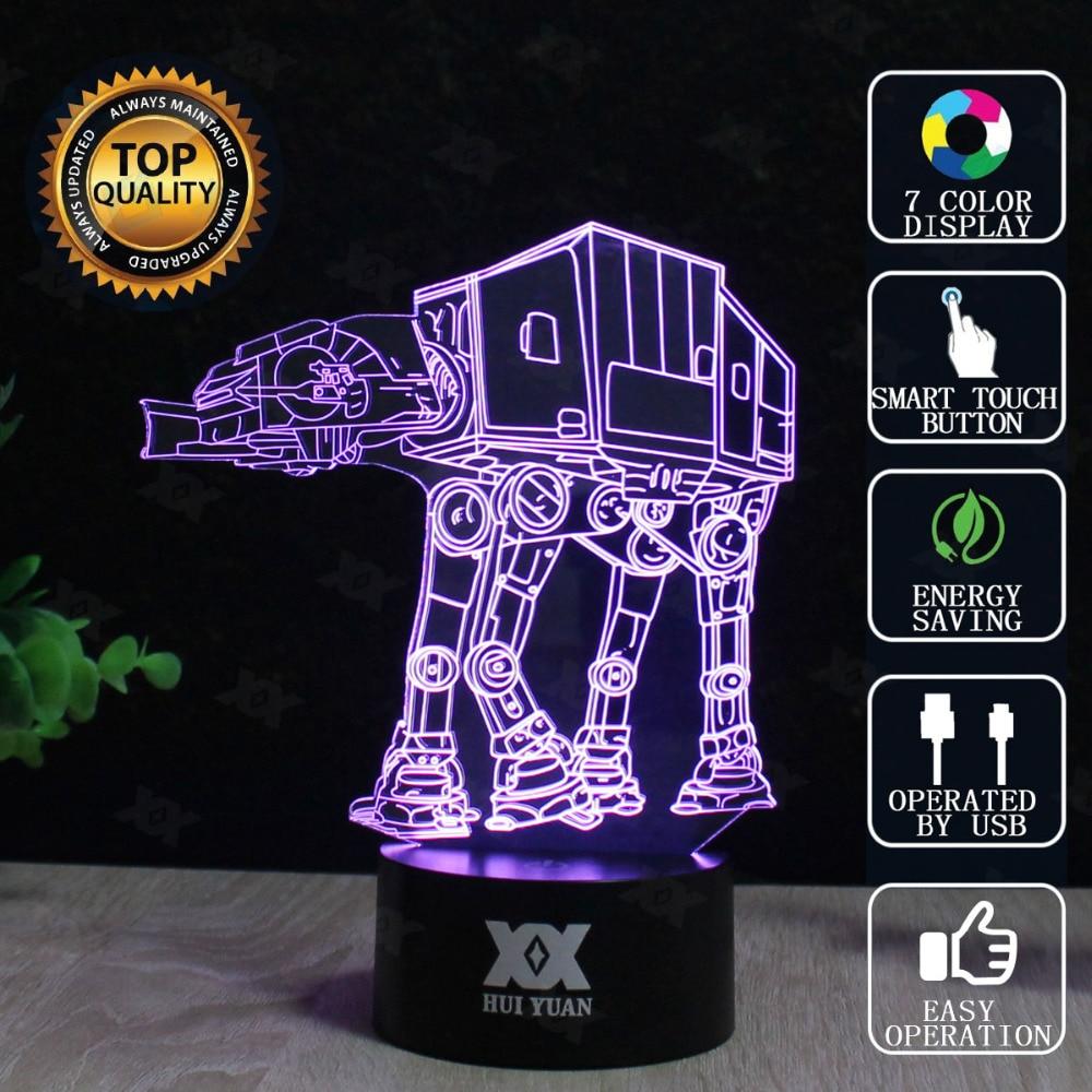 스타 워즈 데스 스타 램프 AT-AT BB-8 3D 램프 LED 참신 야간 조명 USB 휴일 조명 빛나는 크리스마스 선물 후이 위안 브랜드