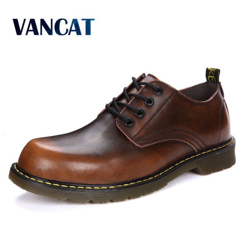 Vancat High Quality Genuine Leather Soft Classic Male Sneakers Men Shoes Adult Fashion Flats Oxfords Work Footwear Casual Shoes vesonal 2017 brand casual male shoes adult men crocodile grain genuine leather spring autumn fashion luxury quality footwear man