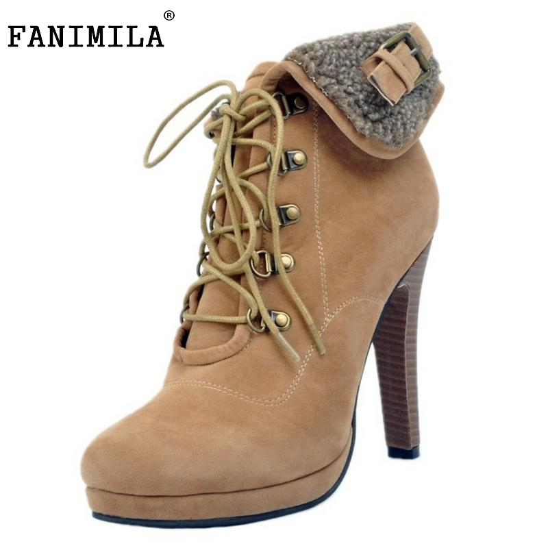 Women Lace Up Platform Ankle Boots Woman Retro Spike Heel Botas Fashion Ladies Suede Leather Heels Shoes Footwear Size 34-47 women lace up platform ankle boots woman retro spike heel botas fashion ladies suede leather heels shoes footwear size 34 47