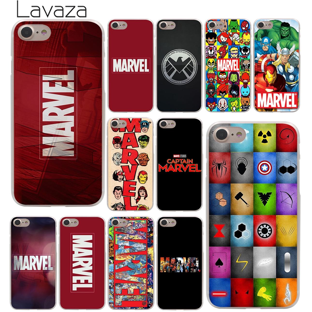 Luxury Marvel Comics logo Hard Case Transparent for iPhone 7 7 Plus 6 6s Plus 5 5S SE 5C 4 4S