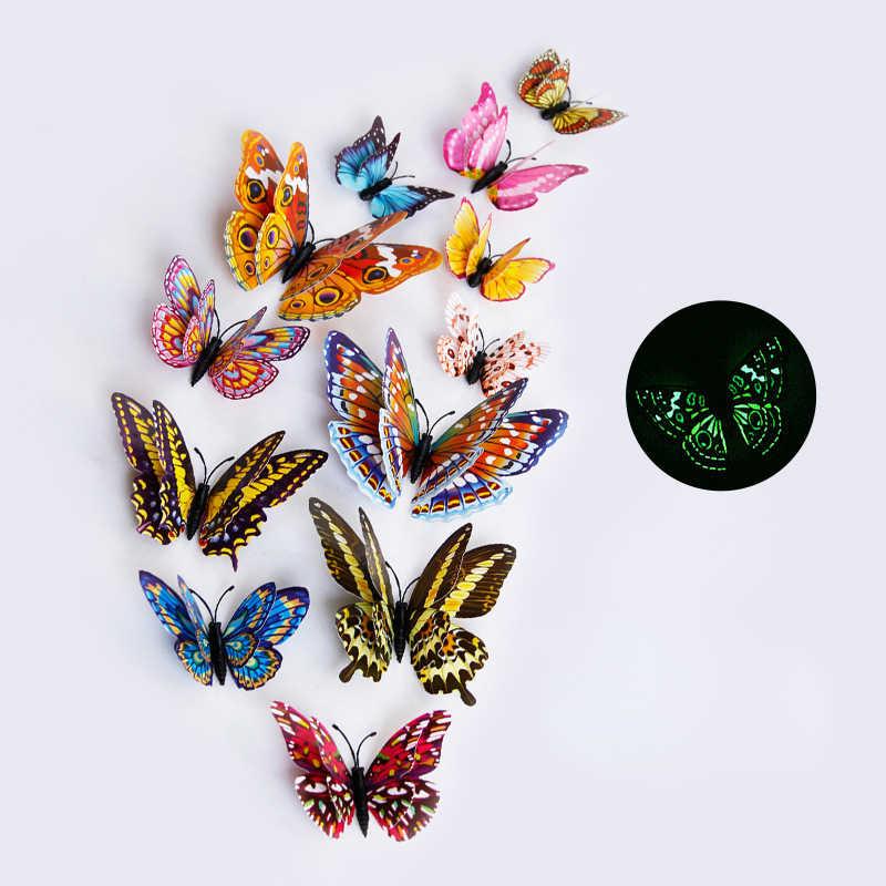 12 יח'\סט צבעים זוהר 3D פרפר קיר מדבקות מגנט PVC הקרינה פרפרים מסיבת ילדי מיטת חדר קישוט DC49