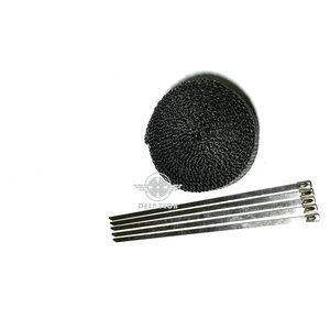 Image 2 - 15 m/50ft x 1 Zoll Schwarz Auspuff Wrap Auspuff Turbo Manifold Header Wrap Auspuffrohr Wrap Auspuff wärme Wrap Hitzeschild