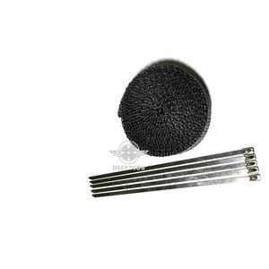 Image 2 - 15m/50ft x 1 Inch Black  Exhaust Wrap Exhaust Turbo Heat Manifold Header Wrap Exhaust Pipe Wrap Exhaust Heat Wrap Heat Shield
