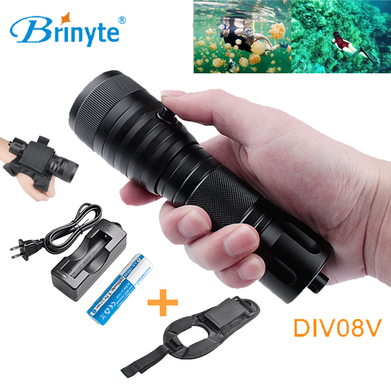 Brinyte DIV08V 1050 Lumens Large Spot CREE XM-L2(U4) Good Underwater Photoelectric Flash Light with 18650 Battery and Charger