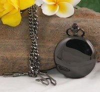 Часы Обычная полированный черный часы Antique Для мужчин Женская карманные часы Античная Горячие
