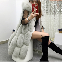 Fashion Fur Vest Coat Jacket Luxury Faux Fox Fur Warm Women Coats Vest Winter Women'S Coat Jacket Manteau Femme Hiver 2018