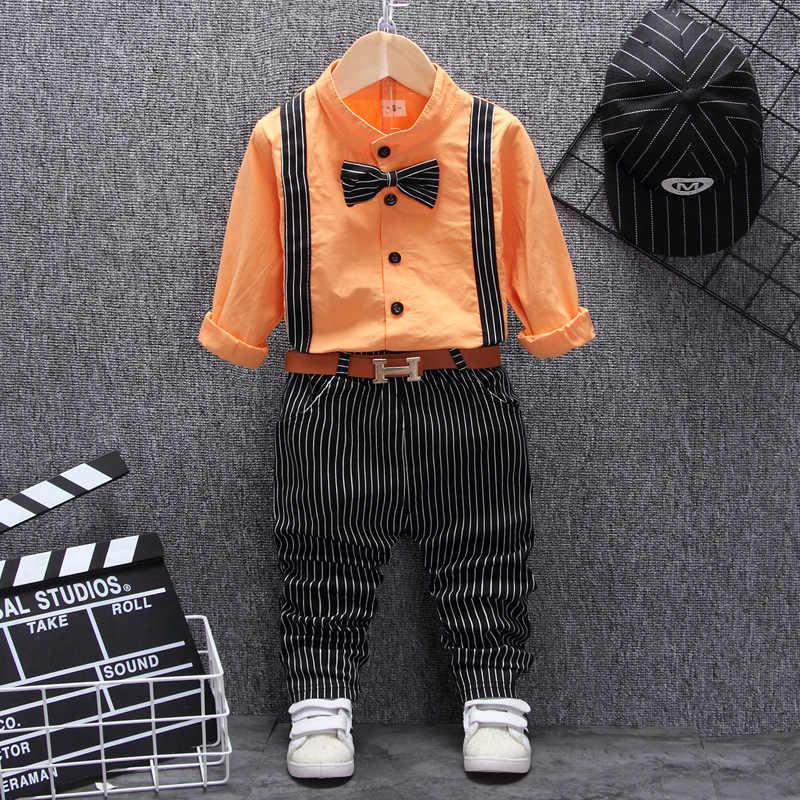 בריטי סגנון תינוק ילד בגדים אחד שנה יום הולדת חתונה תלבושות סט ליילוד תינוק ילד חולצות מכנסיים עם חגורת חליפה בגדי סטים