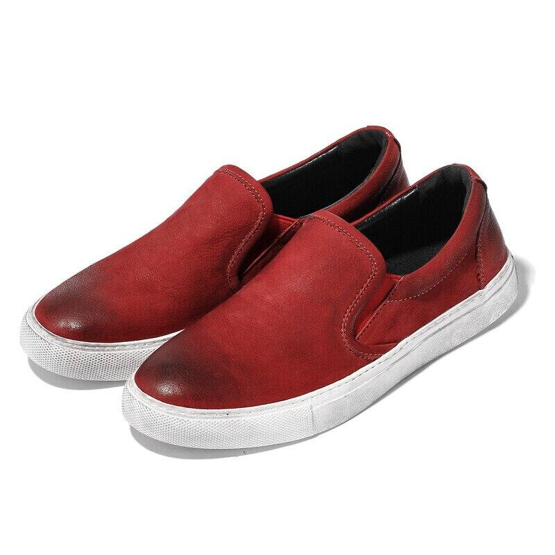 5 colores de cuero de grano completo para Hombre Zapatos casuales deslizamiento en conducción de coches Lofers perezoso Hombre Zapatos de barco-in Mocasines from zapatos    2