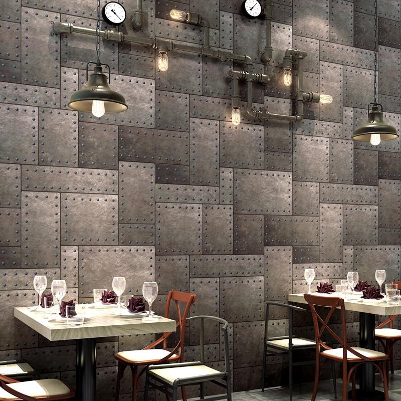 Industrial style wallpaper Retro nostalgia Old wrought iron PVC decoration sticker 3D restaurant bar clothing store