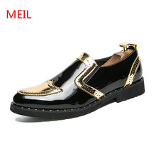 цены MEIL Designer Luxury Mens Dress Shoes Patent Leather Wedding Shoes Men Loafers Banquet Party Office Formal Oxford Shoes for Men