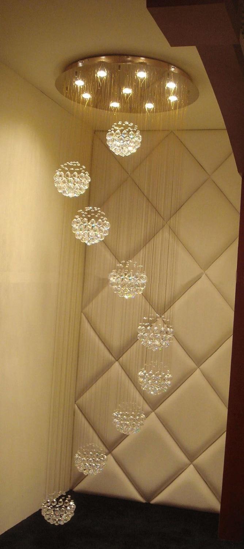 Modern 10 LED Bulbs W31.5 X H100 Crystal Chandelier sphere ball Pendant Lamp RainDrop suspension Light lighting 110V/ 240V