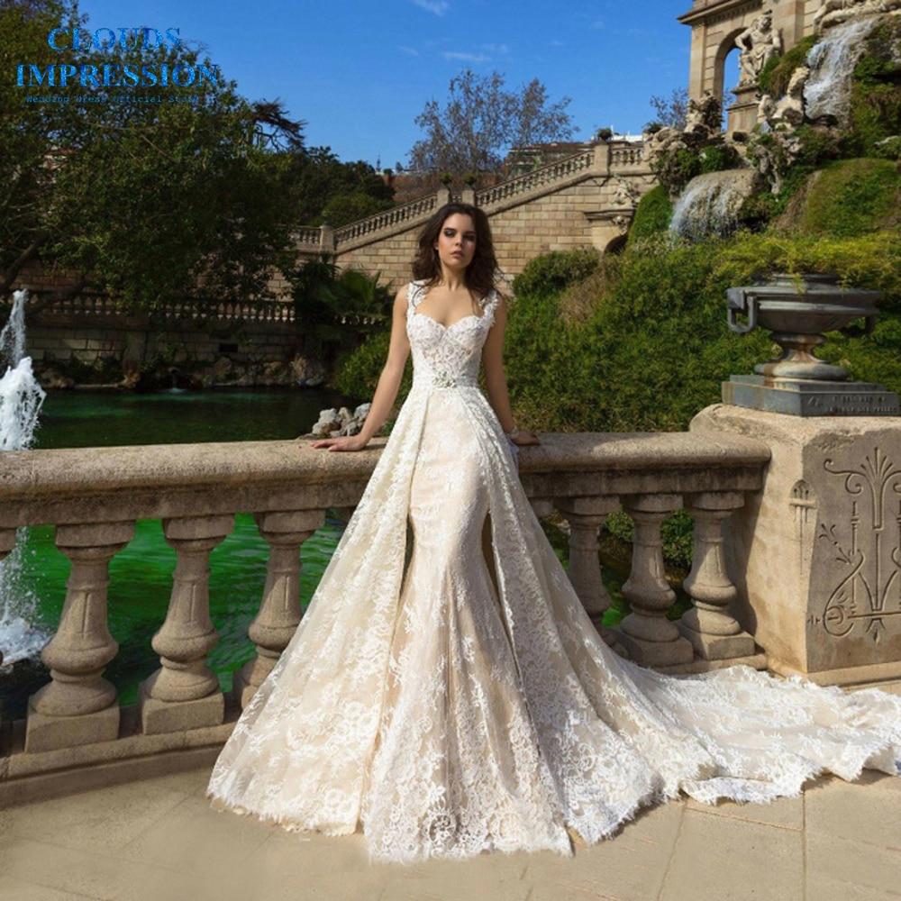 CLOUDS IMPRESSION Elegant Two-piece Mermaid Wedding Dress 2019 Lace Beading Appliques Bride Dress Vestige De Noiva Plus Size