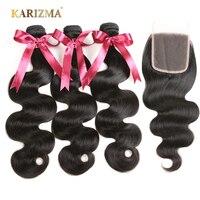 Karizma Brazilian Body Wave 3 Pcs Weft & 1 Pc Closure 100% Human Hair Bundles With Closure Free Part Non Remy Hair Extensions
