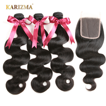 Karizma Brazilian Body Wave 3 Pcs Weft & 1 Pc Closure 100% Human Hair Bundles With Closure Free Part Non Remy Hair Extensions