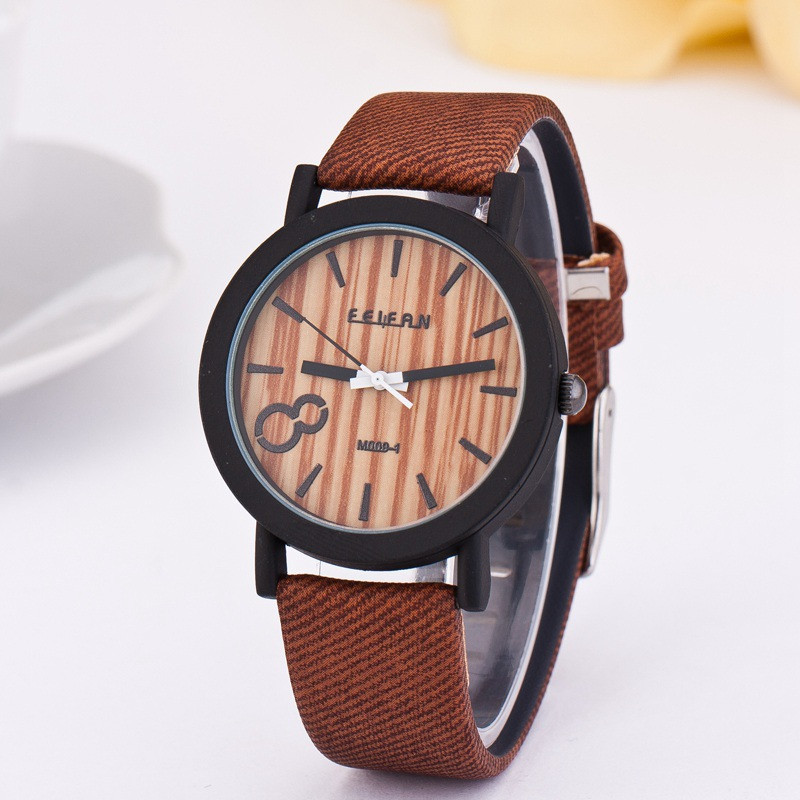 2018 new product recommended imitation wooden quartz female leisure Color Leather Strap Watch 3