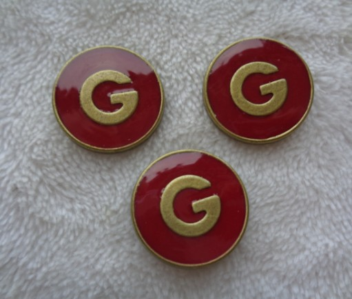 New 10pieces G Retro Metal Bronze Drip Oil Red Jacket Buttons Shirt Sweater Button Decorations Accessories 22mm Free Shipping