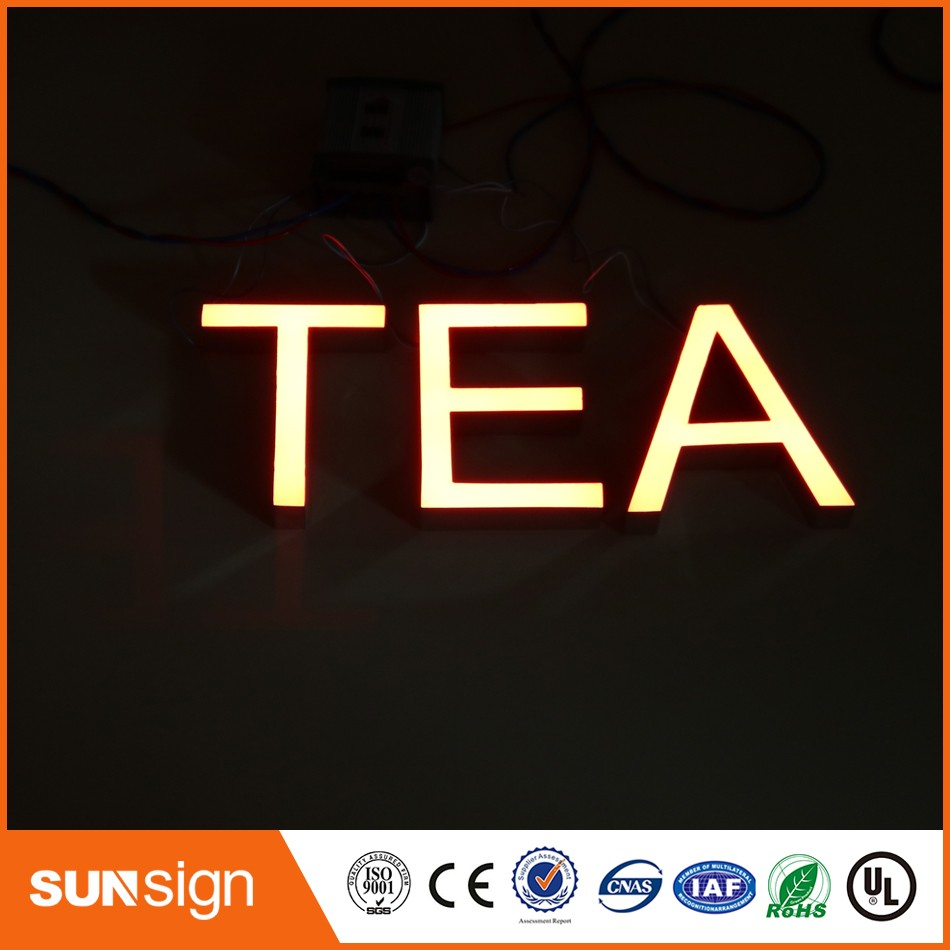 Wholesale Mirror Stainless Steel Epoxy Resin LED Channel Letter Sign