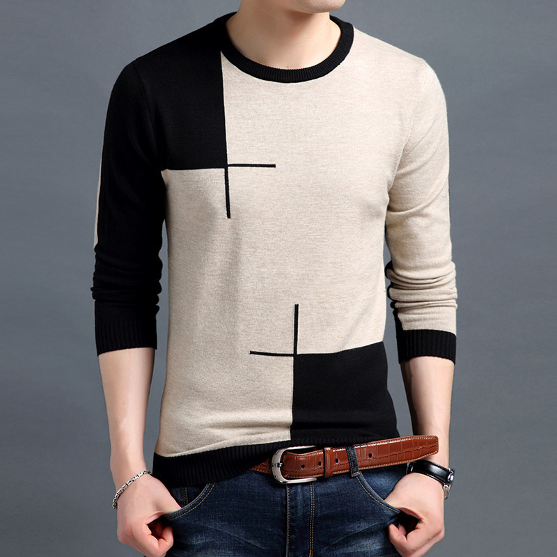 Men's Sweater Pullovers Knitwear Turtleneck Slim-Fit Male Breathable Autumn Casual Spring