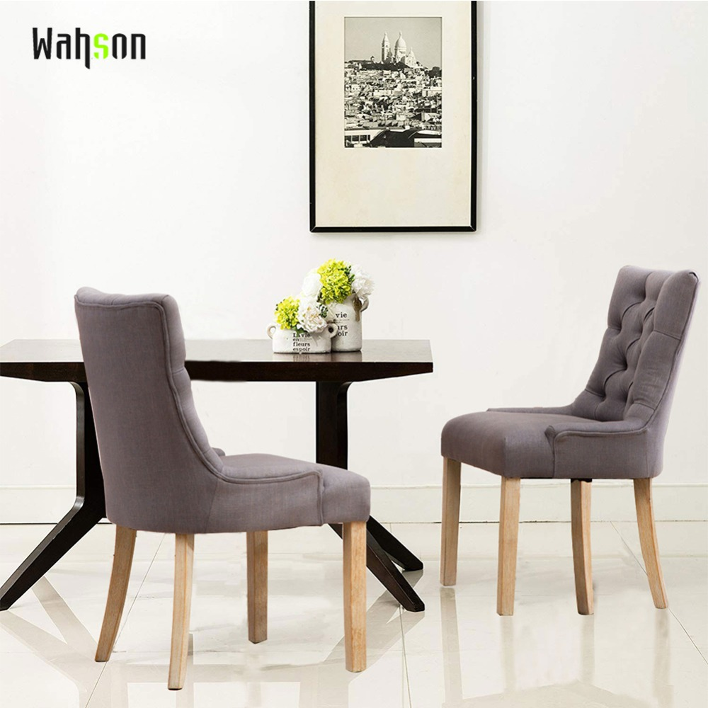 Upholstered Living Room Chairs Us 222 98 Wahson Tufted Upholstered Dining Chairs Rustic Linen Wingback Dining Room Chair For Dining Room Set Of 2 In Stools Ottomans From