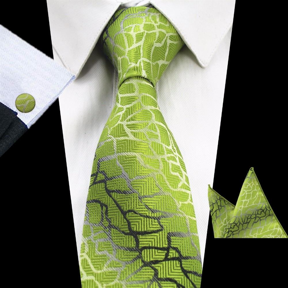 GUSLESON Brand New Luxury Green Tie Set 8cm Purple Plaid Necktie Gravata Pocket Square Handkerchief Cufflinks Suit For Wedding