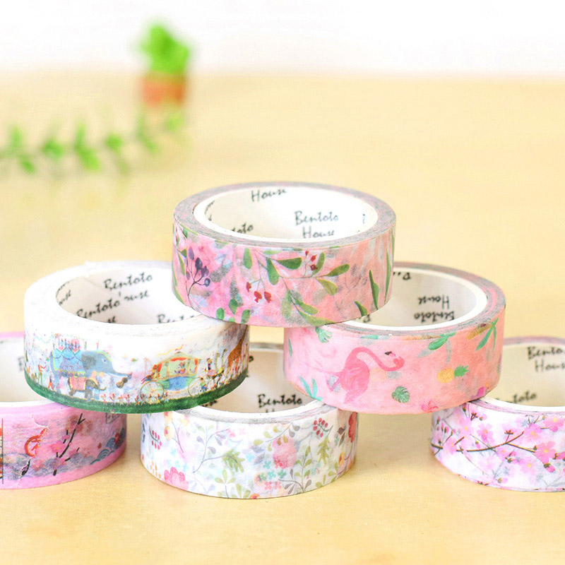 1PC Cute Flamingo Masking Tape Kawaii Flower Washi Tape Decorative Adhesive Tape For Kids DIY Scrapbooking Diary Photos Albums