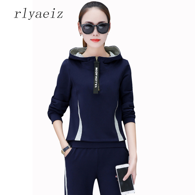 RLYAEIZ 2 Piece Set Women Sporting Wear 2017 Spring Casual Striped Hooded Hoodies + Pants Autumn Sporting Suits Female Tracksuit
