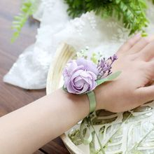 New Arrival Wrist Corsage Hand Flowers Rose Brooch Silk Bridal Bracelet Girls Flower For Bridesmaids Pink