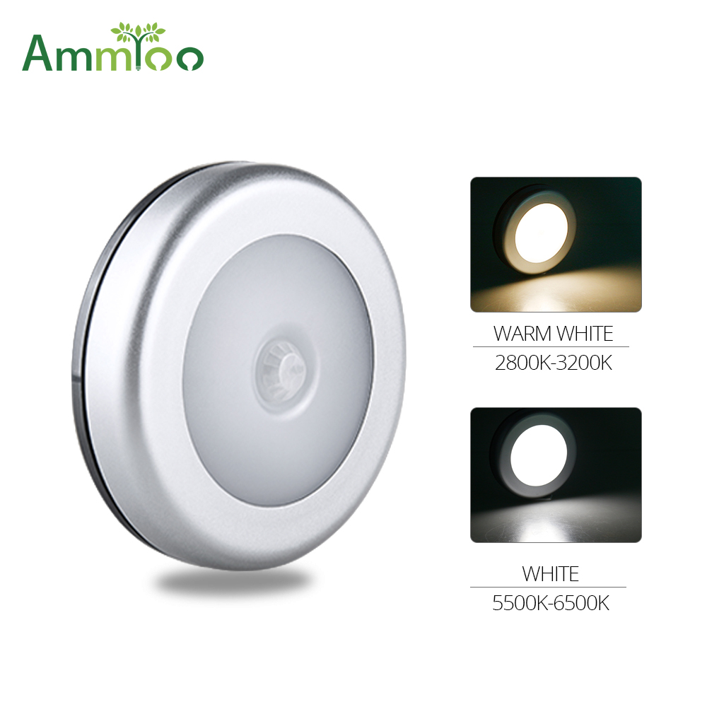 AmmToo 6 LED Night Light Wireless Detector Sensor Nightlight Wall Lamp PIR Motion Sensor Lamp Auto On/Off White/Warm white ColorAmmToo 6 LED Night Light Wireless Detector Sensor Nightlight Wall Lamp PIR Motion Sensor Lamp Auto On/Off White/Warm white Color