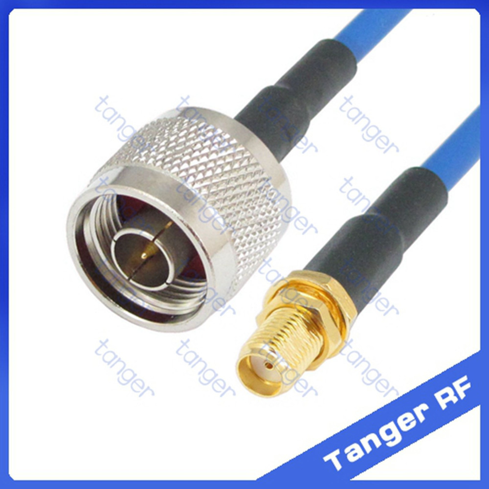 N male plug to SMA female straight connector with RG402 RG141 RG-402 Coaxial Jumper blue cable 8 inch 8 20cm RF Low Loss Coax 1pc adapter n plug male nickel plating to sma female gold plating jack rf connector straight